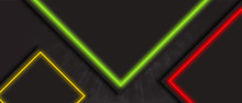 Black Tech Abstract Banner Design With Green, Red And Yellow Neon Glowing Light