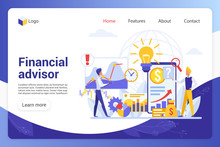 Financial Advisor Landing Page Vector Template. Business Analysts Faceless Characters. Company Promotion, Risk Assessment, Analytics And Statistics Web Banner Homepage Design Layout