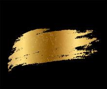 Golden Paint Smear Stain. Vect...