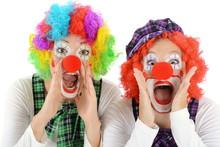 Women Dressed In Clown Costume...
