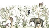 Tropikalny krajobraz botaniczny vintage, palmy, roślin, papuga, małpa, słoń kwiatowy bezszwowe granica białe tło. Tapeta zwierząt dżungli. - 315684289