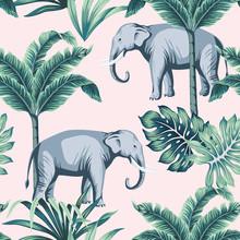 Tropical Vintage Elephant Wild...