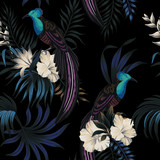 Tropical vintage night exotic bird, hibiscus flower, palm leaves floral seamless pattern black background. Exotic jungle dark wallpaper. - 315684485
