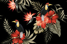 Tropical Vintage Botanical Palm Leaves, Parrot, Red Hibiscus Floral Seamless Pattern Black Background. Exotic Jungle Bird Wallpaper.