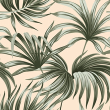 Tropical Vintage Palm Leaves Floral Seamless Pattern Beige Background. Exotic Jungle Wallpaper.