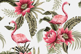 Tropical vintage pink flamingo, pink hibiscus, palm leaves floral seamless pattern grey background. Exotic jungle wallpaper. - 315684649