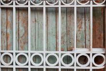 Blue Wooden Door With Metal Ba...