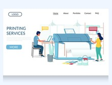 Printing Services Vector Website Landing Page Design Template