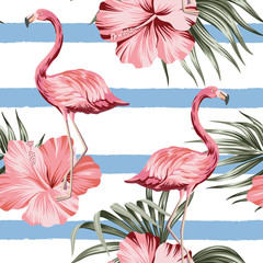 Tropical pink hibiscus and flamingo floral green palm leaves seamless pattern striped background. Exotic jungle wallpaper.