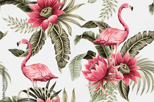 Photo Tropical vintage pink flamingo, pink hibiscus, palm leaves floral seamless pattern grey background