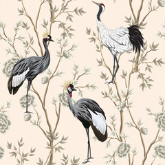 Fototapeta Do sypialni Vintage garden tree, crane bird floral seamless pattern pink background. Exotic chinoiserie wallpaper.