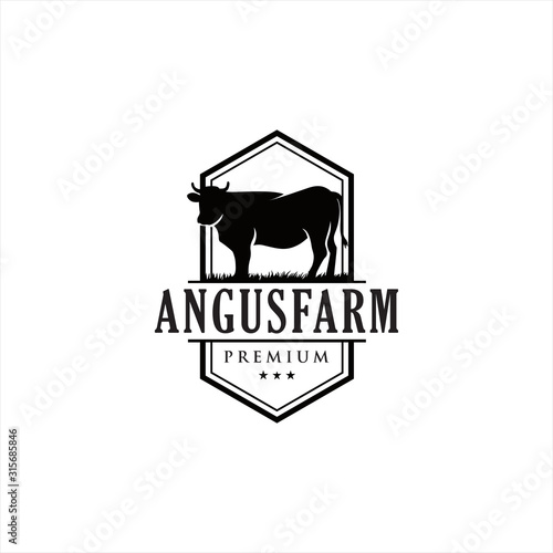 Photo Black angus logo design template cow farm logo