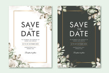 Save The Date Card With Floral...