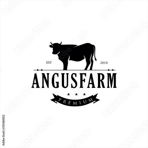 Photo Retro Vintage Cattle Angus Beef Emblem Label logo design vector, Angus Cow Logo,