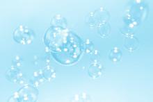 Beautiful Blue Soap Bubbles Background
