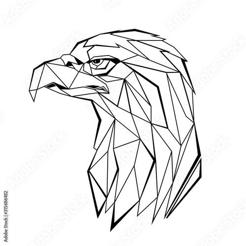 Eagle stylized triangle polygonal model