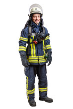 Young Smiling Firefighter With...