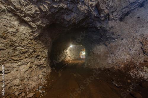 Underground bauxite mine shaft face tunnel drift Wallpaper Mural