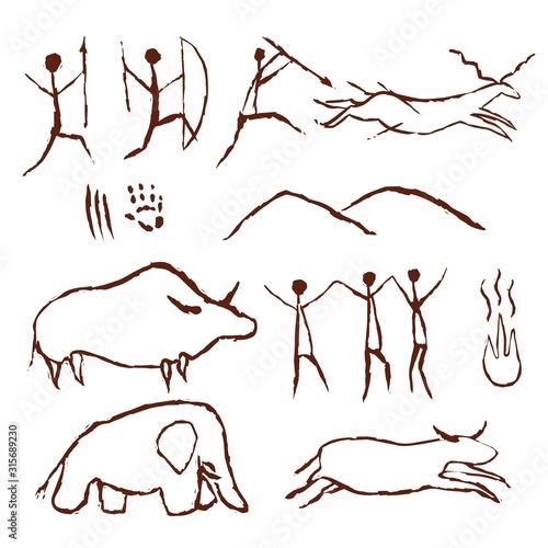 Photo Rock painting cave old art symbol hand drawn vector illustration
