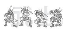 PUG SAMURAI Hand Drawn Vector T-shirt Illustration - Set