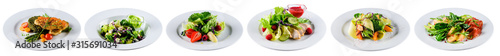 Fototapeta set of fresh salads isolated on white obraz