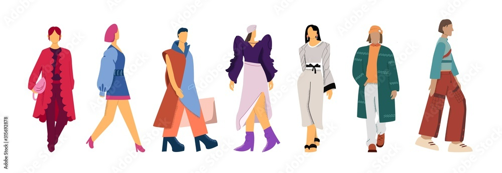 Fototapeta Set of cartoon fashion models clothes presentation vector flat illustration. Collection of female and male character posing in trendy clothing isolated on white background big limbs style