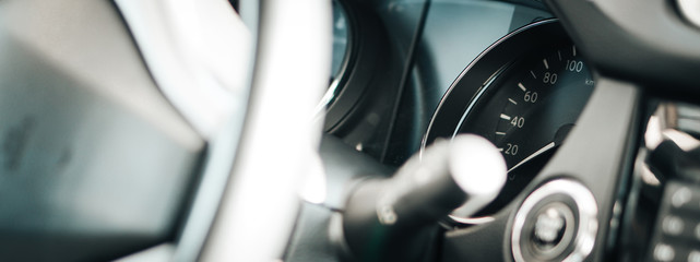 Black Modern car interior details banner.