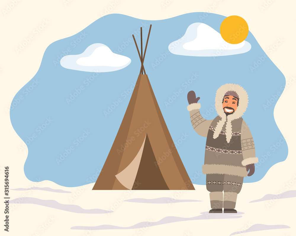 Fototapeta Smiling arctic person in traditional warm clothes standing near tent on snowy landscape. Man hunter in hood waving hand near stall. Eskimo cartoon character outdoor snow and sunny weather vector