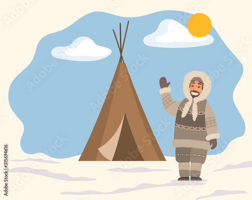 Fototapeta Smiling arctic person in traditional warm clothes standing near tent on snowy landscape. Man hunter in hood waving hand near stall. Eskimo cartoon character outdoor snow and sunny weather vector obraz