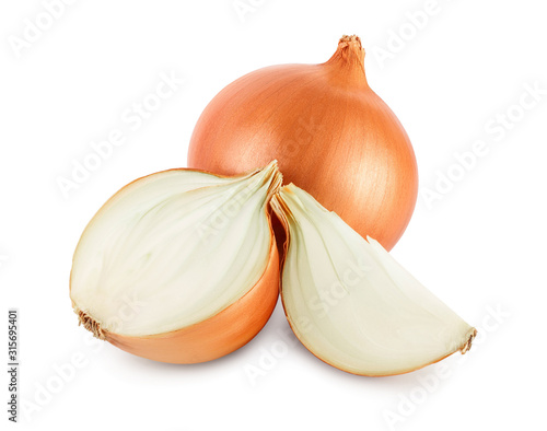 yellow onion isolated on white background close up Canvas Print