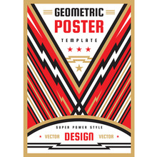 Art Vertical Poster Template In Heavy Power Style. National Patriotism Freedom Vertical Banner. Graphic Design Layout. Music Rock Concert Concept Vector Poster. Geometric Abstract Background.