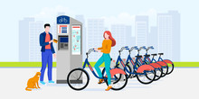 Public City Bicycle Sharing Business, Vector Flat Illustration. Modern Automated Bike Rental Service System Concept