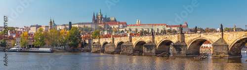 Obraz Prague - The panorama of Charles Bridge, Castle and Cathedral withe the Vltava river. - fototapety do salonu
