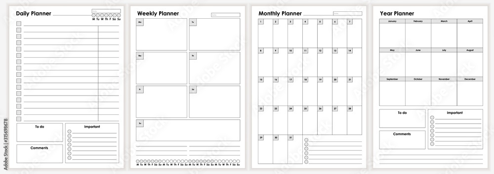Fototapeta Collection of minimalist life and business planner sheets vector graphic illustration. Daily, weekly, monthly, year planners template. Empty blank notebook page isolated on white