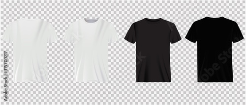 Carta da parati Set of white and black t-shirts on a transparent background