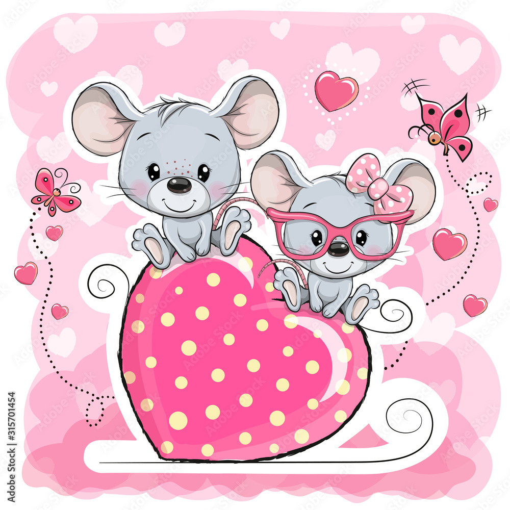 Fototapeta Two cats is sitting on a heart on a pink background