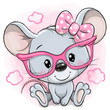 Cartoon Mouse with pink glasses on a pink background