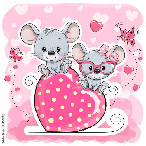 Fototapeta Two cats is sitting on a heart on a pink background obraz