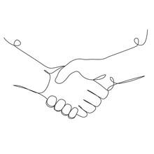 Handshake One Line Drawing On ...