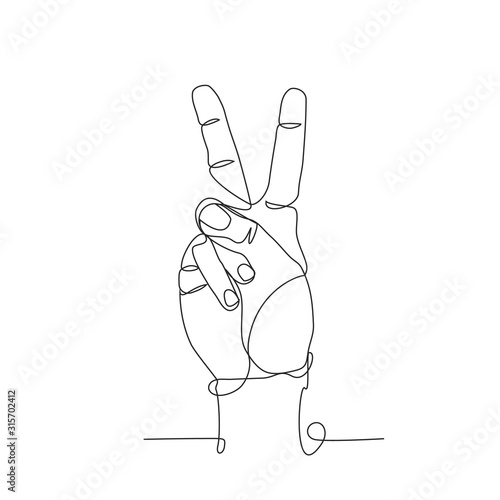 Fotografering Symbol of peace one line drawing on white isolated background