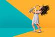 Leinwanddruck Bild - a female teenage saxophonist