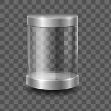Empty Round 3d Capsule Glass Showcase Front View Vector Graphic Illustration. Realistic Clean Cylinder Shape Display Box Isolated On Transparent Background