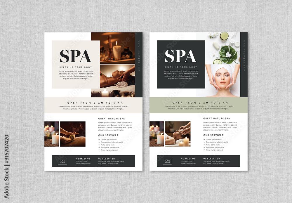 Fototapeta Beauty and Spa Flyer Layout