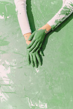 Green Hands Of Young Woman On ...