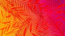 Abstract Palm Summer Vibrant Gradient Background Vector Graphic Illustration. Futuristic Neon Backdrop With Different Trees Branch Bright Design. Tropical And Vacation Concept