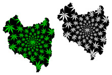 Covasna County (Administrative Divisions Of Romania, Centru Development Region) Map Is Designed Cannabis Leaf Green And Black, Covasna Map Made Of Marijuana (marihuana,THC) Foliage