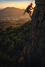 Man Climbing At Battert Rock A...