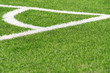 Leinwanddruck Bild - Green artificial grass turf soccer football field backgrond with white corner line boundary. Top view