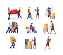 Set Of Workers Delivering Pack...