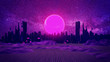canvas print picture - RETRO CITY SKYLINE: Neon glowing sun and starry sky   Synthwave / Retrowave / Vaporwave Background   3D Illustration